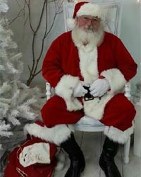 santa claus next to white tree picture