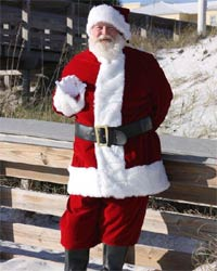 velvet santa suit on beach